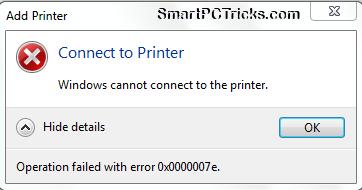 Operation failed with error 0x0000007e